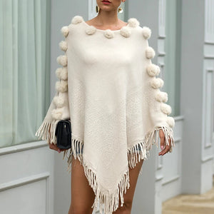 Floral Tassel Fringed Pullover Pompom Collar Sweater Cloak Shawl Cape