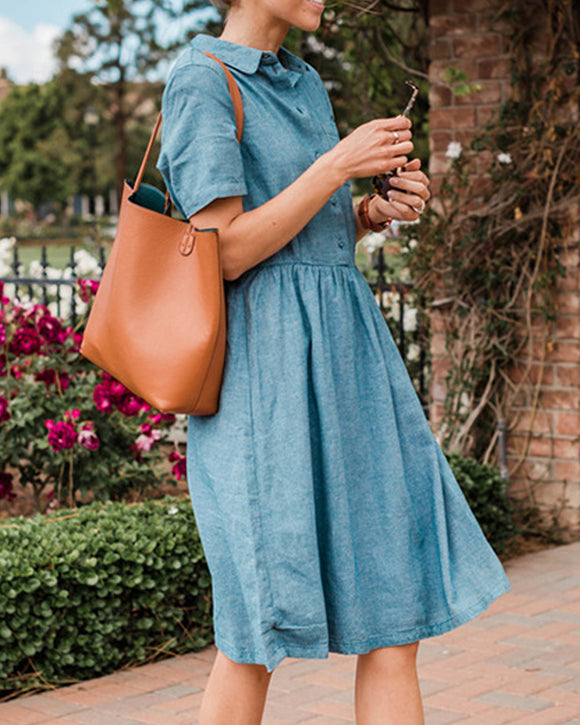 Blue Single-breasted Casual Denim Midi Dress