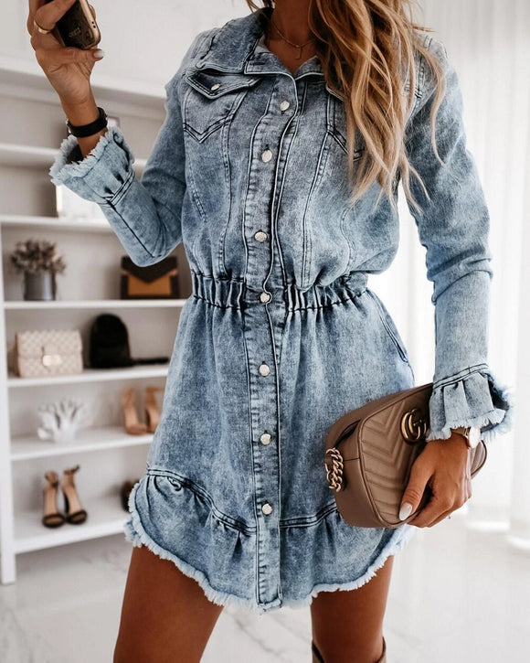 Elastic Waist Tassel Lapel Button Denim Coat Mini Dresses