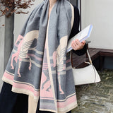 Retro Tassel Horse Pattern Warm Scarf Cashmere Thick Shawl Wrap for Women Ladies Girls