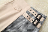 Apricot Splicing Houndstooth Single-breasted Coat Jacket Skirt Two-piece Set