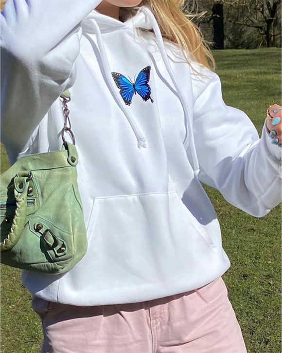 Round Neck Butterfly Embroidery Shirts Blouses Hoodies Sweatshirts