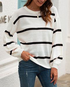 Lantern Sleeve Striped Knit Sweater