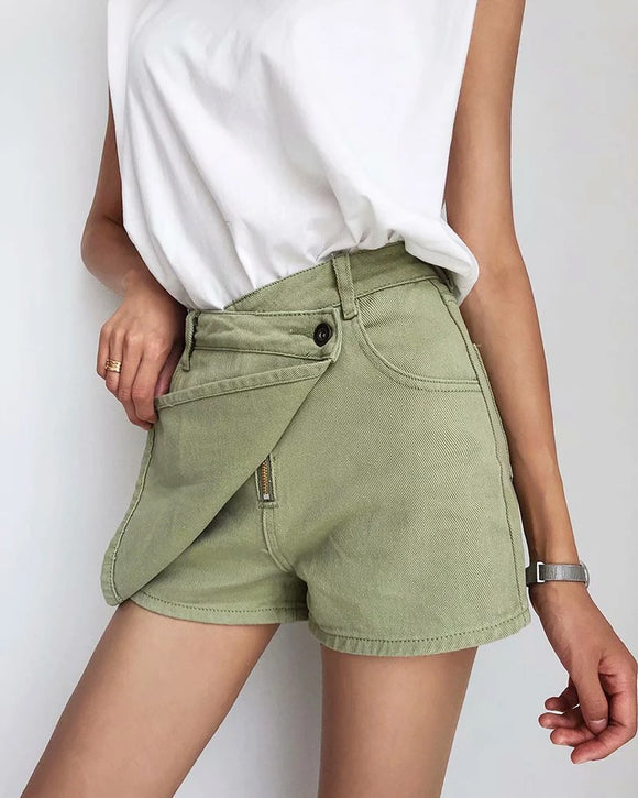 One Button High Waist Denim Shorts Hot Pants
