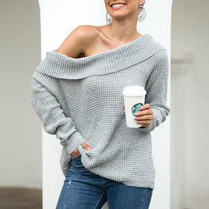 Women's Strapless Collar Solid Color Sweater