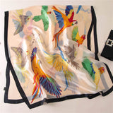 Parrot Print Silk Scarf for Women