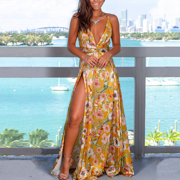 Yellow Sexy Sling Colorful Floral Evening Party Maxi Dresses