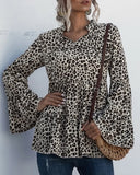 Leopard Print Lace-up Blouse Flared Sleeves Shirt