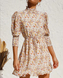 Retro Floral Bubble Sleeves Elastic Waist Mini Dresses