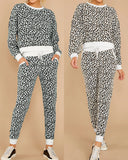 Round Neck Leopard Print Casual Two-piece Suit Home Outfit