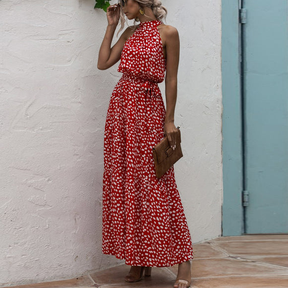Red Wave Bohemian Boho Printed Hanging Neck Straps Maxi Dresses