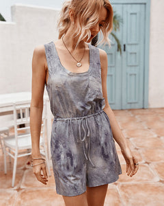 Tie Dye Lace-up Jumpsuit Rompers Loungewear