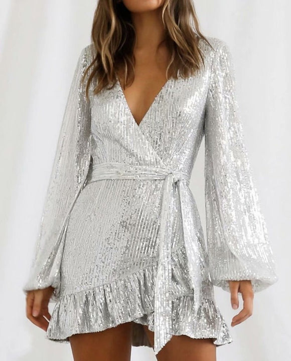 Ruffle Bubbles Sleeve Sequins Lace-up V-neck Mini Dresses