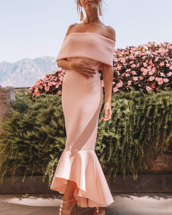 Off Shoulder Bodycon Fishtail Strapless Maxi Midi Dresses