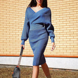 Deep V-neck Elegant Sweater and Bodycon Midi Dresses Two-piece Set
