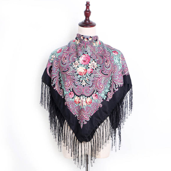 Ethnic Retro Flower Square Scarf Shawl Fringed Scarves for Women Ladies Girls