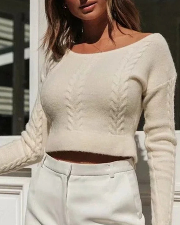 Round Neck Knit Sweaters Blouses Crop Tops