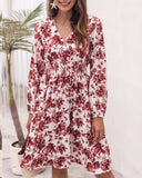 Floral V-neck Bubble Elastic Waist Long Sleeves Mini Midi Dresses