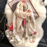 Vogue Silkly Scarf for Women Lightweight Flower Shawl Wraps Holiday Scarf Gift Scarves Women