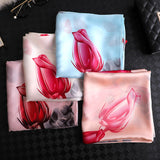 Flower Print Silk Scarf Shawl Wrap for Women Ladies Girls 90x180