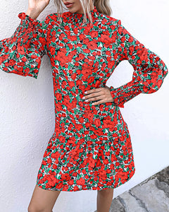 Stand Collar Ruffles Bubble Sleeves Floral Mini Dresses