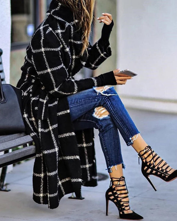 Classic Grid Plaid Hooded Cardigan Strappy Coat Outerwear