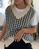 Houndstooth V-neck Knitted Vest Sweaters