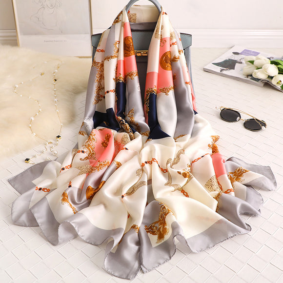 Fashion Simple Geometric Silk Scarf Shawl Wrap for Women Ladies Girls 90x180