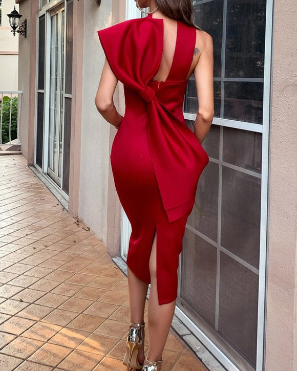 Halter Neck Bowknot Back Zipper Bodycon Party Midi Dresses