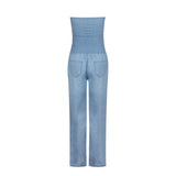 Tube Top Strapless Elastic Waist Slit Leg Denim Jumpsuit