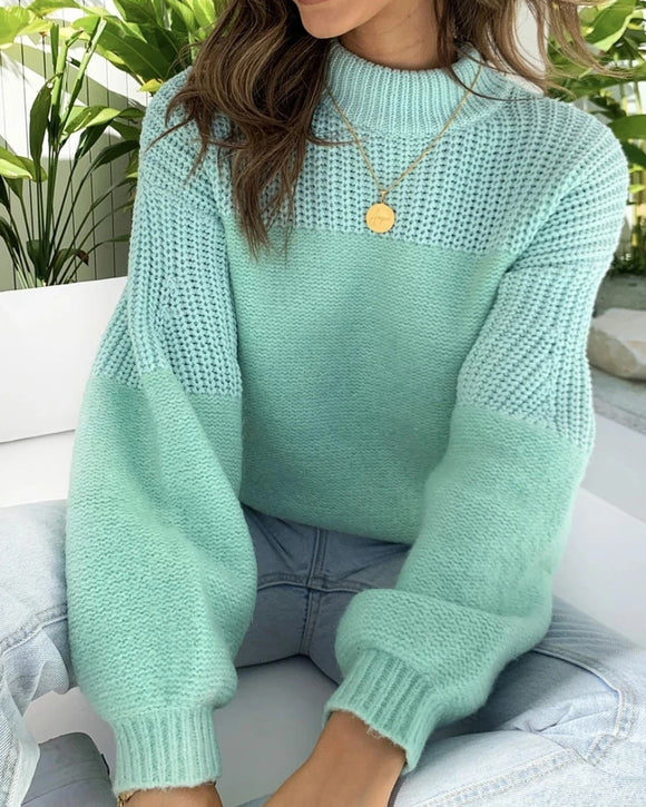 Bubbles Sleeves Splicing Casual Knitting Sweater