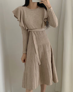 Lace-up Ruffled Flounces Splicing Knit Sweater Midi Dress
