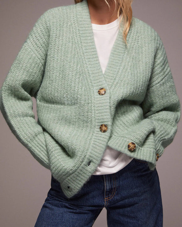V-neck Single-breasted Knit Oversize Cardigans