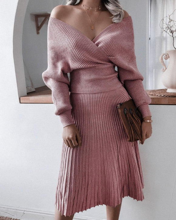 V-neck Irregular Hem Pleated Knit Sweater Midi Dresses Pink