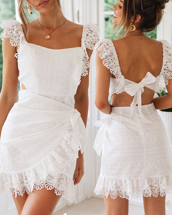 White Cotton Embroidery Backless Lace Mini Bodycon Dresses