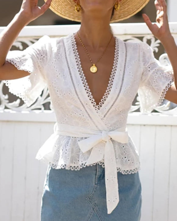 Vintage V-neck Hollow-out Lace Blouses Crop Tops