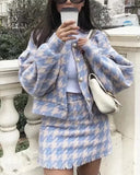Houndstooth Beaded Buckle Long Sleeve Short Jacket Skirt Dress Suit