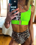 High-waisted Leopard Stitched Colored Bikini Swimwear