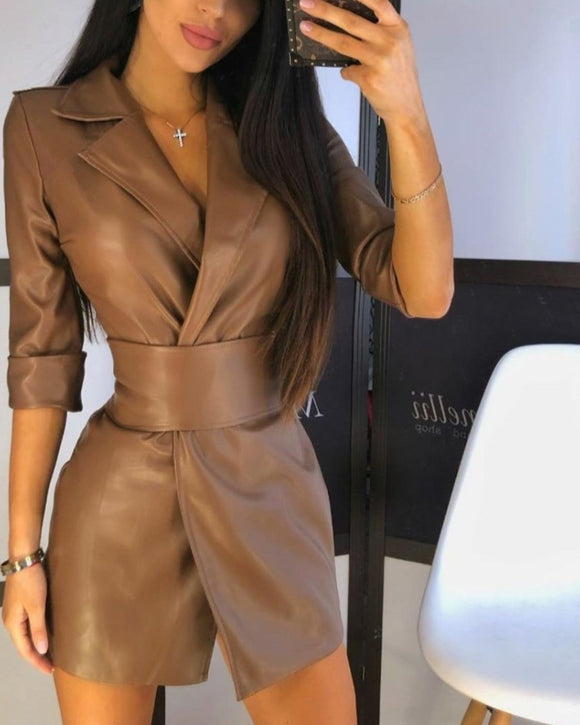 Lapel Blazer PU Belt Mini Dress Blazers Outerwear