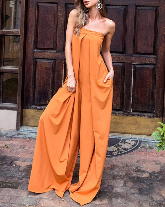 Tube Top Wide Leg Party Pocket Backless Zipper Jumpsuit Orange