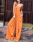 Tube Top Wide Leg Party Pocket Backless Zipper Jumpsuit