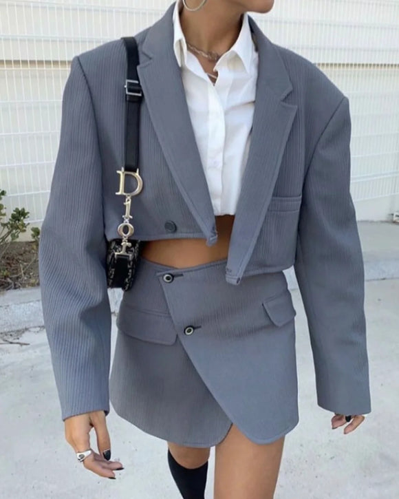 Pile Collar Lapel Blazer Skirt Two-piece Set