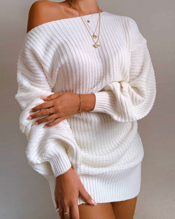 One Shoulder Lantern Sleeve Knit Sweater Mini Dresses