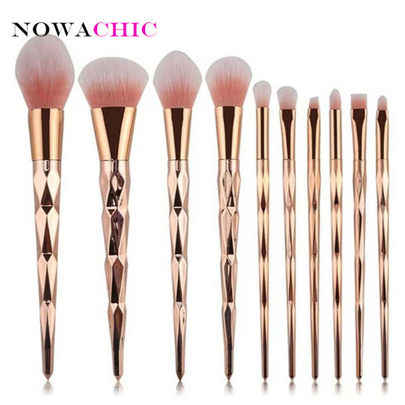 10pcs Diamond Rose Gold Makeup Brushes Powder Foundation Blush Blending Eyeshadow Lip Cosmetic Brush