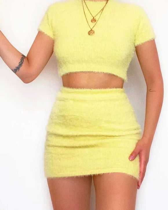 Yellow Crop Tops Knitting Mini Dresses Skirt Two-piece Set