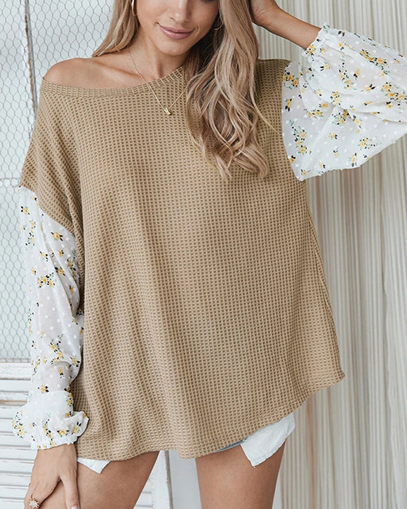 Knit Tops Joint Chiffon Printed Long Sleeve Shirts