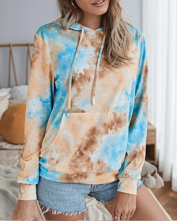 Casual Hooded Blouse Tie-dye Pocket Tops