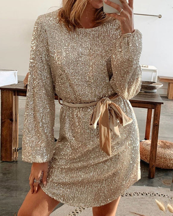 Round Collar Lantern Sleeve Sequin Puff Sleeve Mini Dresses