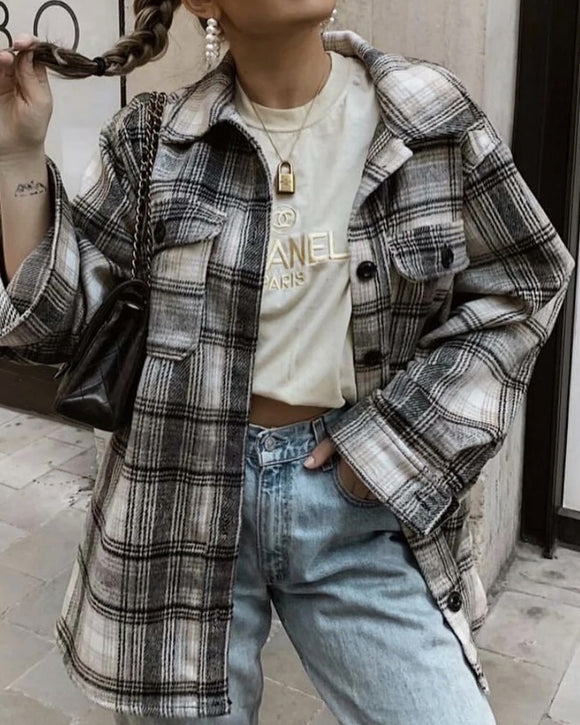 Casual Single-breasted Plaid Shirt Cardigans Coat