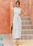 Vacation Halter Polka Dot Floral Maxi Dresses